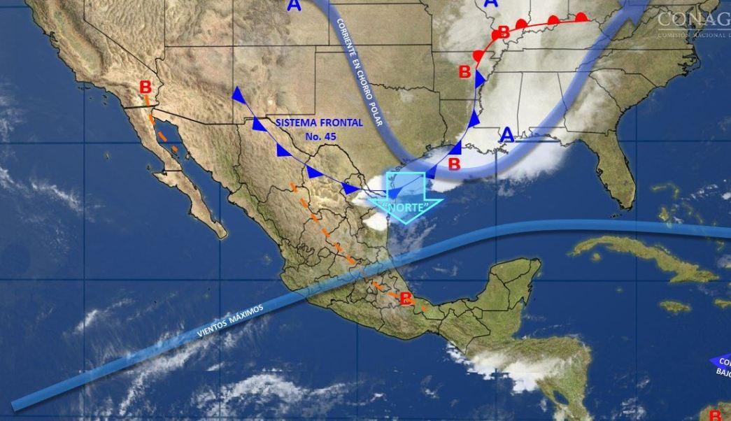 Mapa con el pronóstico del clima para este 4 de mayo