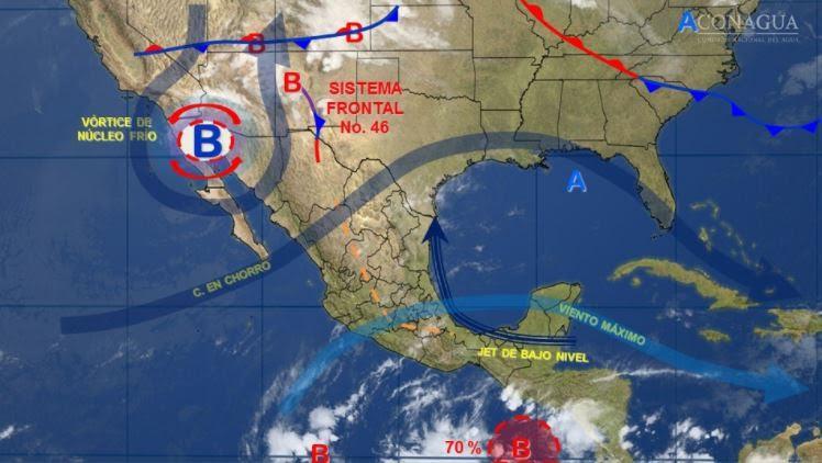 mapa con el pronostico del clima para este 9 de mayo