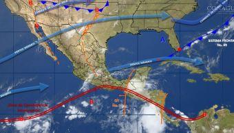mapa con el pronstico del clima para este 26 de mayo