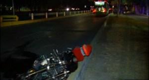 Motocicleta que fue usada para intentar asaltar un camion de pasajeros