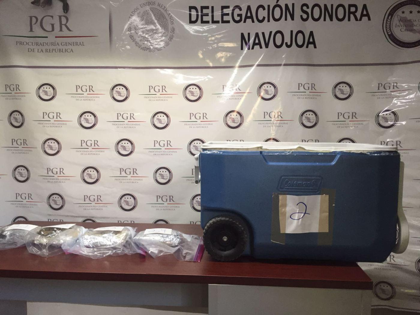 Hielera y pastillas aseguradas en Navojoa sonora