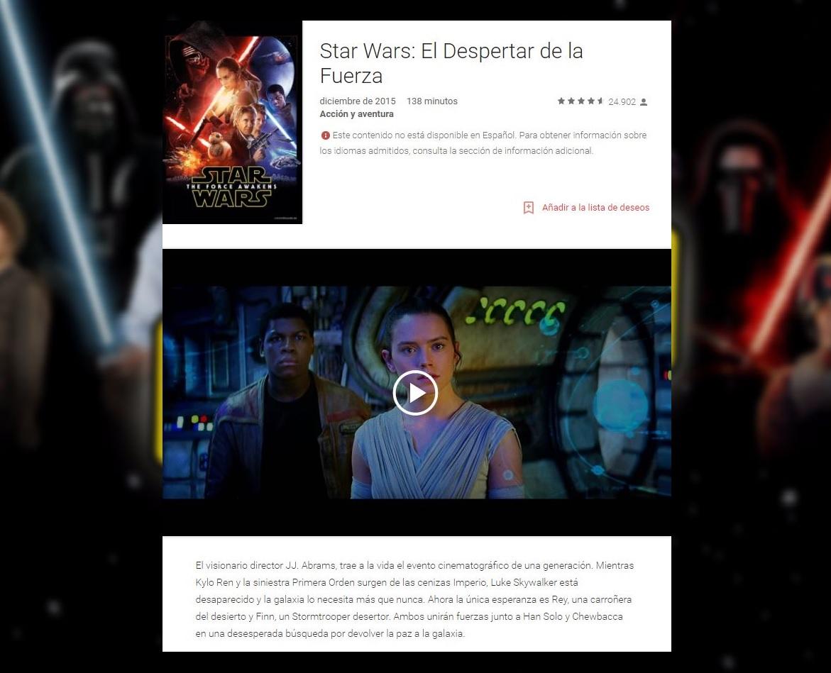 'El Despertar de la Fuerza' es una de las más películas más descargadas en Google Play. (Google)