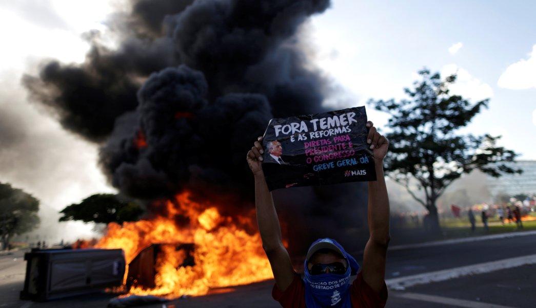 Temer, protestas, Brasilia, corrupción, política, violencia,