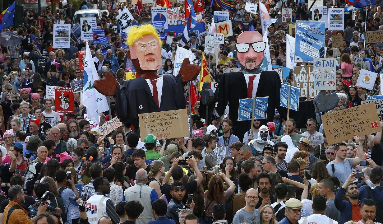 Cientos protestan, Bruselas, Donald Trump, OTAN