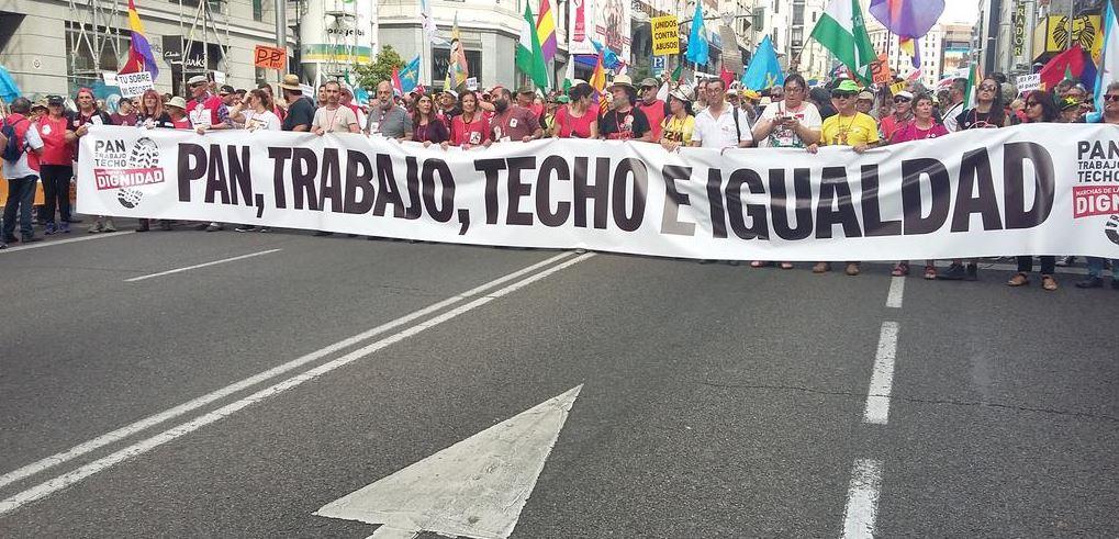 manifestación en Madrid, protestas en Madrid, España, trabajo digno, derechos sociales