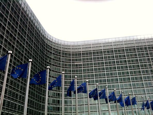 Banderas de la Union europea en Bruselas