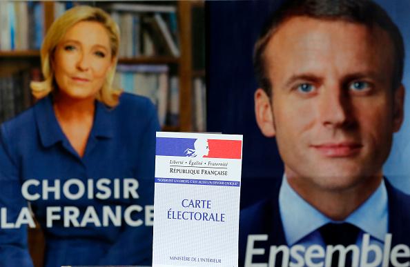 Marine Le Pen y Emmanuel Macron en la elección presidencial francesa