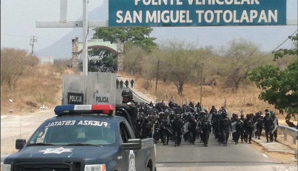 Operativos de seguridad en San Miguel Totolapan, Guerrero. (Twitter @SSPGro)