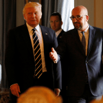 El presidente Donald Trump con el primer ministro belga, Charles Michel (Reuters)