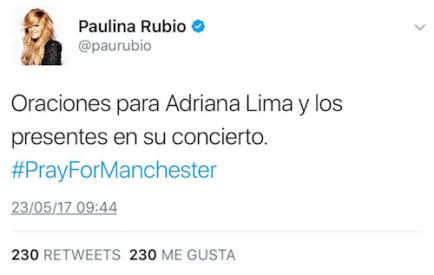 Paulina Rubio, Ariana Grande, Manchester, error, atentado