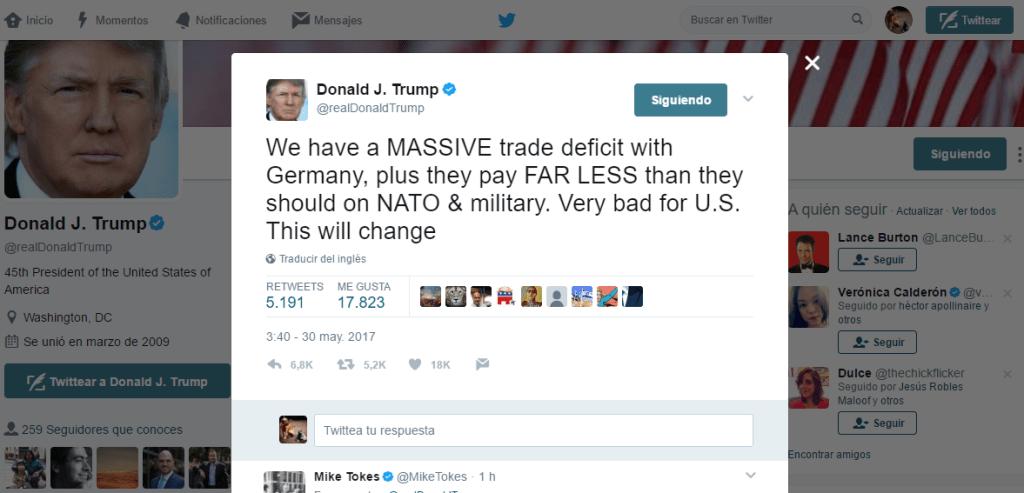 Donald Trump se quejó, en su cuenta de Twitter, sobre Alemania. (Twiiter, @RealDonald Trump)