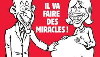 """La revista Charlie Hebdo con una caricatura con Macron apoyando una mano sobre el estómago embarazado de su esposa con el título: """"¡Va a hacer milagros!"""" (Foto: Charlie Hebdo)"""