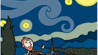 Una de las imágenes del cómic Vincent, donde se aprecia al pintor tocando un violín