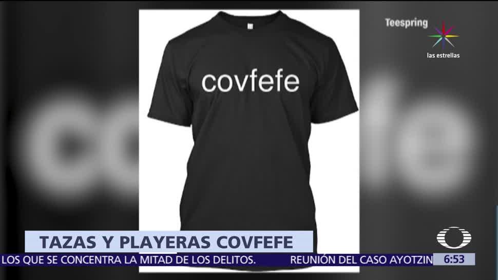 empresa, vende playeras y tazas, palabra COVFEFE, Donald Trump, Twitter
