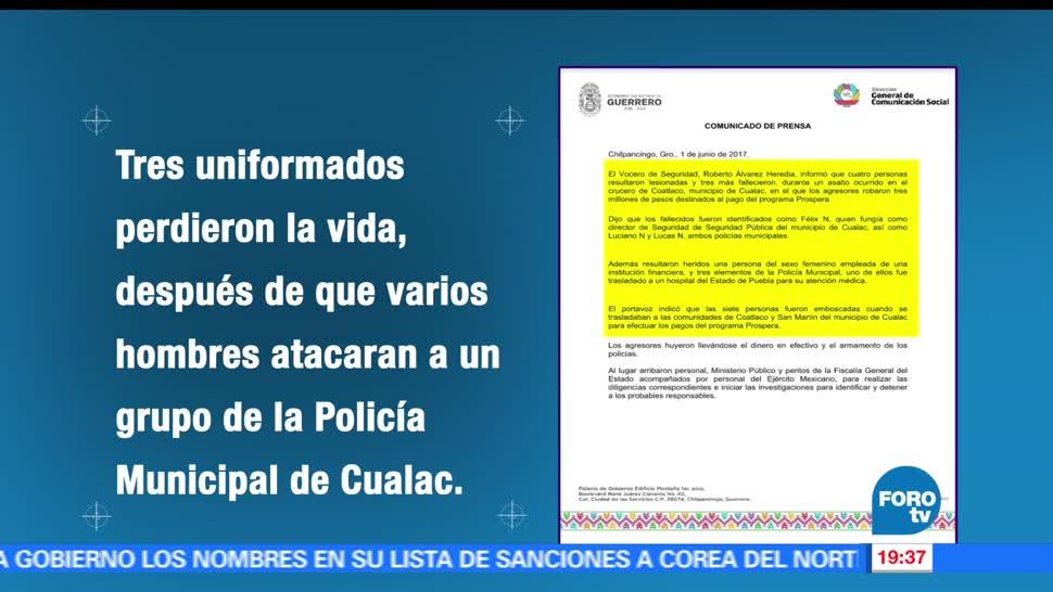 Asesinan, policías, Guerrero, Cualac, crimen, asesinato