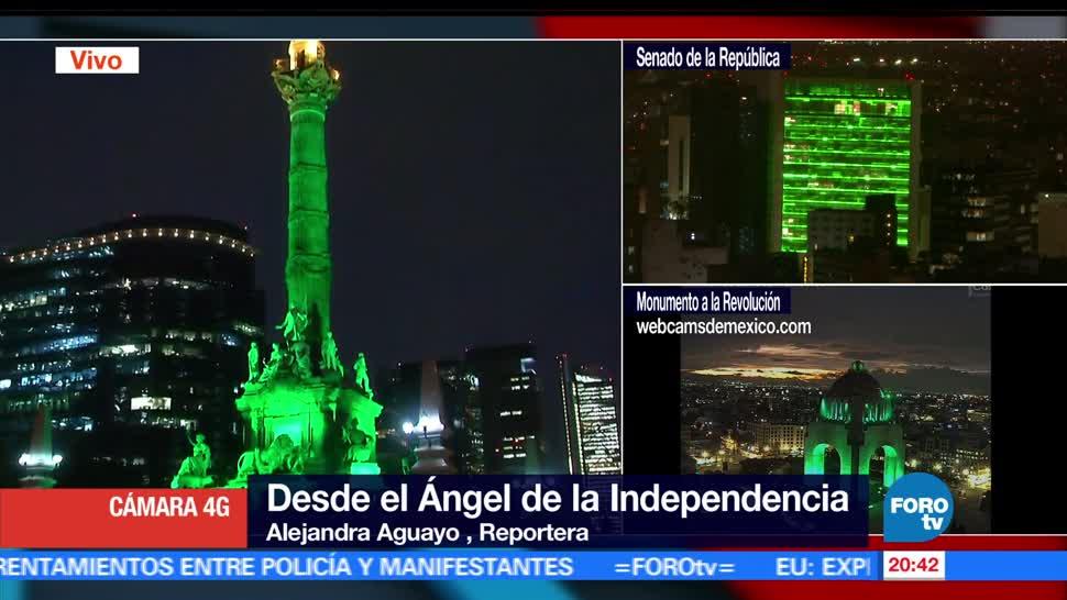 Iluminan, monumentos, CDMX, apoyo, Acuerdo de París, cambio climático