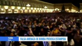 Falsa, amenaza de bomba, provoca estampida, plaza San Carlos de Turín, aficionados, juventus