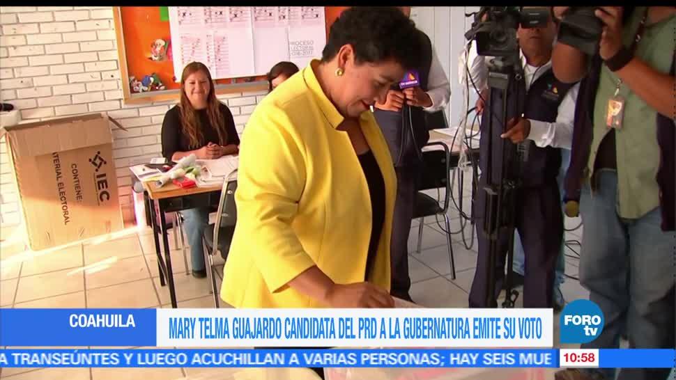 Candidatos, gobierno de Coahuila, emiten, voto, votaciones, elecciones