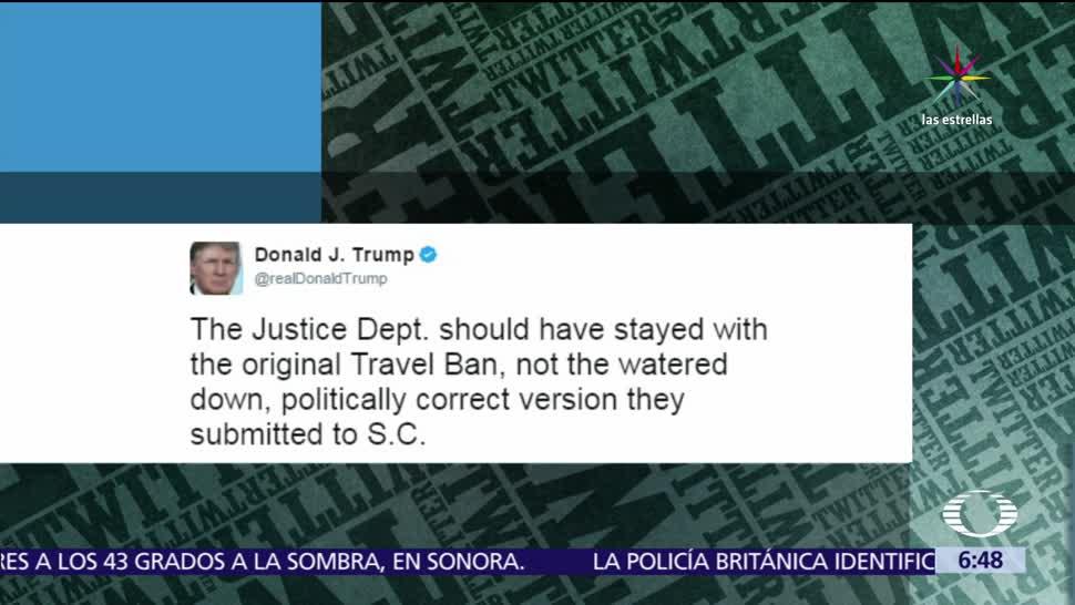 Donald Trump, Departamento de Justicia, veto migratorio, arremete