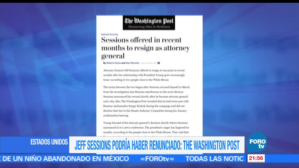 noticias, forotv, Revelan, Jeff Sessions, renuncia, Trump