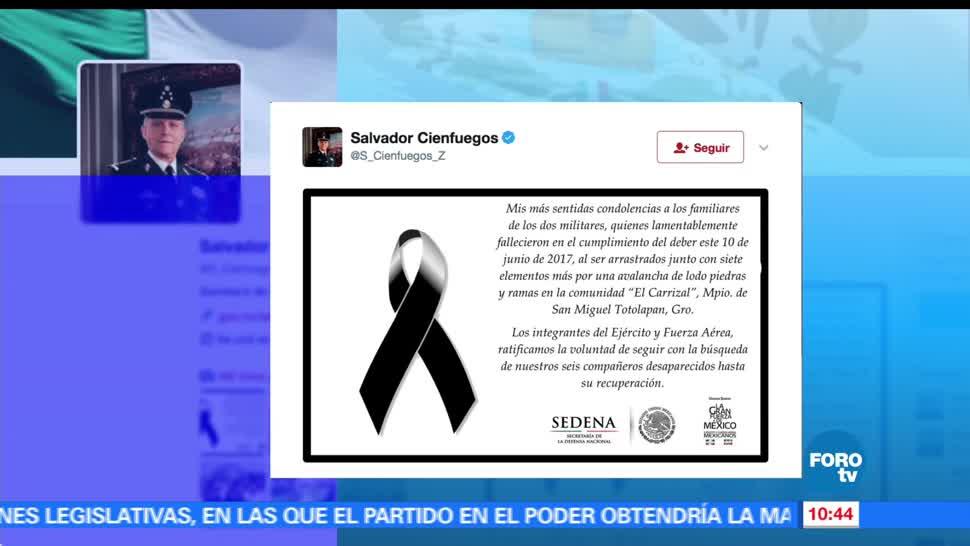 general Salvador Cienfuegos, Defensa Nacional, esquela, condolencias, soldados muertos