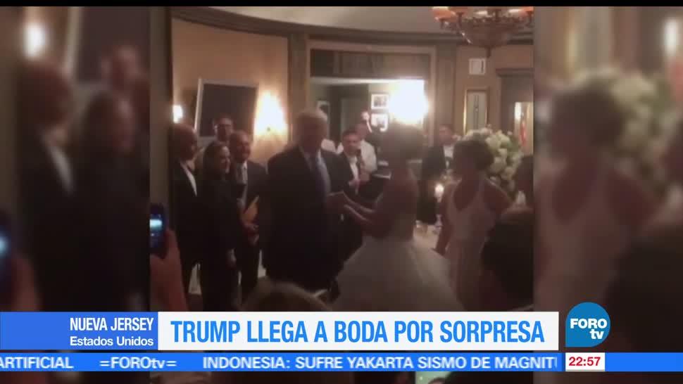 Trump, cae, llega, boda, aparece, nueva jersey