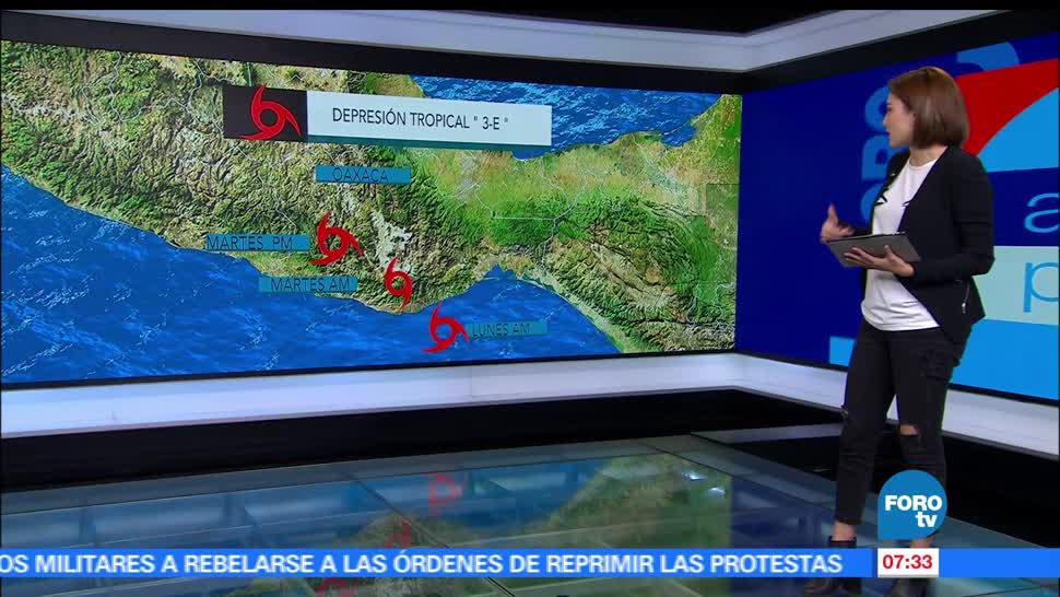 depresión tropical 3-E, 100 kilómetros, Oaxaca, lluvias, fuertes vientos