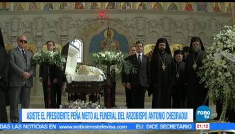 EPN, asiste, funeral, arzobispo, Antonio, Chedraoui