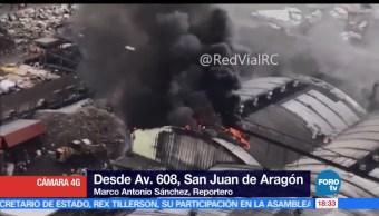 noticias, forotv, Sofocan, incendio, San Juan de Aragón, incendio de una nave industrial
