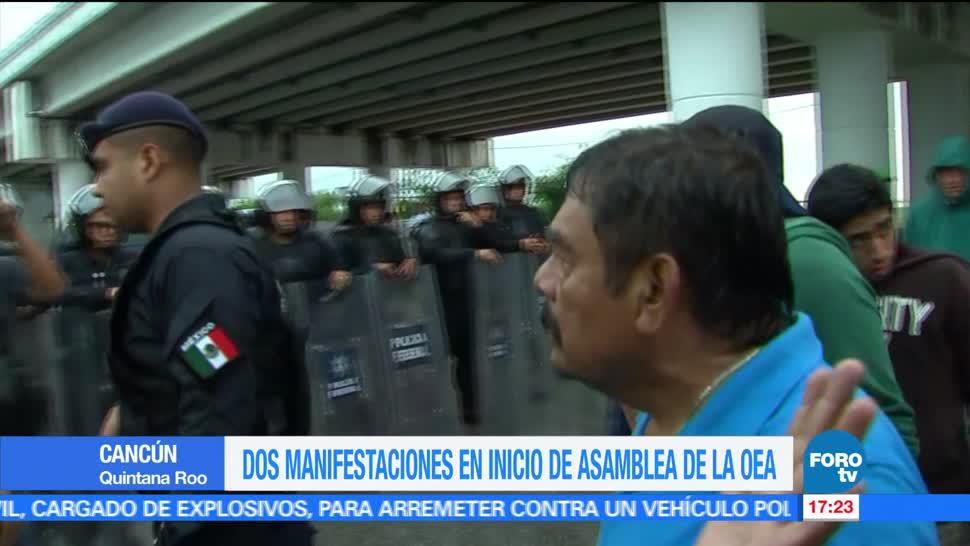 Manifestaciones, Cancún, inicio de la Cumbre, OEA