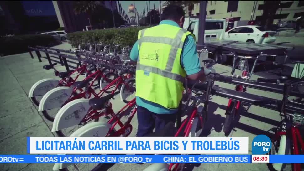 proyecto 'Bicibús', Eje Central, Lázaro Cárdenas, bicicletas, trolebuses