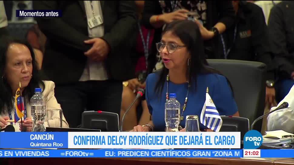 Delcy Rodríguez, deja, cancillería, Venezuela, anuncio, cancún