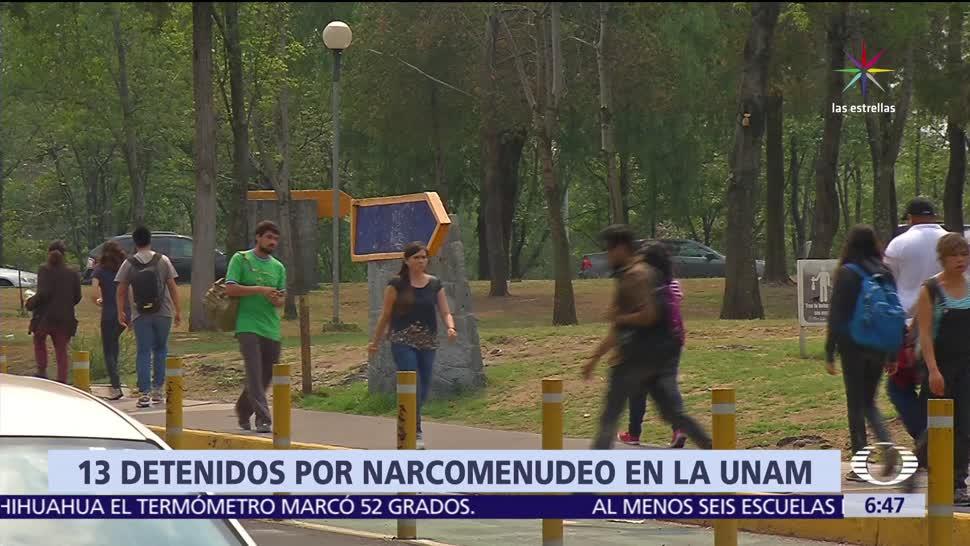 enero a junio, personas detenidas, vender drogas, instalaciones de la UNAM