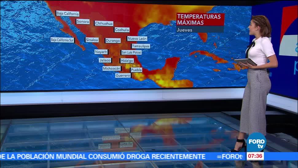 Canales de baja presión, Ciudad de México, temperatura máxima, grados centígrados