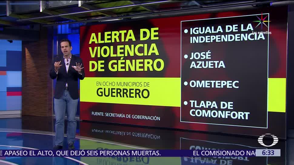 Segob, emite alerta, violencia de género, 8 municipios de Guerrero