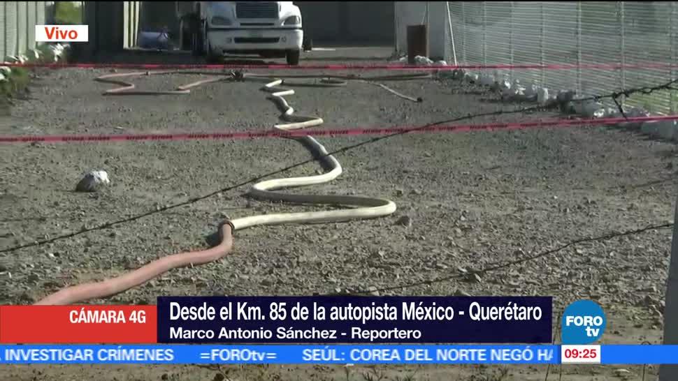 Descubren, toma clandestina, gas, autopista México-Querétaro