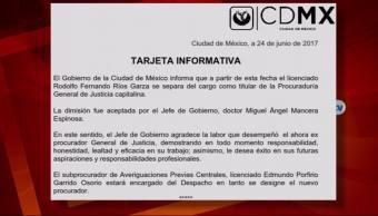 Rodolfo Ríos Garza, renuncia, Procuraduría de Justicia, capitalina, cdmx, mancera