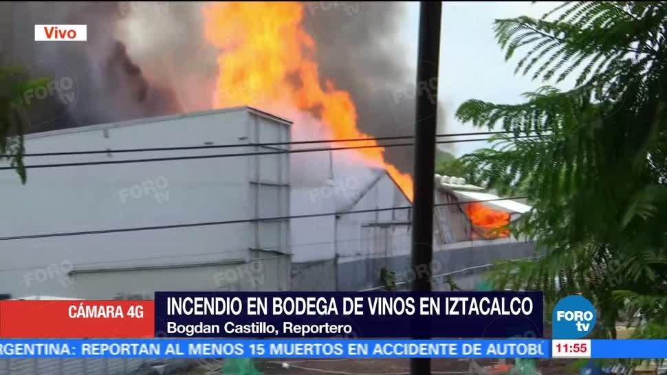 mil 500 personas, incendio, bodega de vinos, delegación Iztacalco