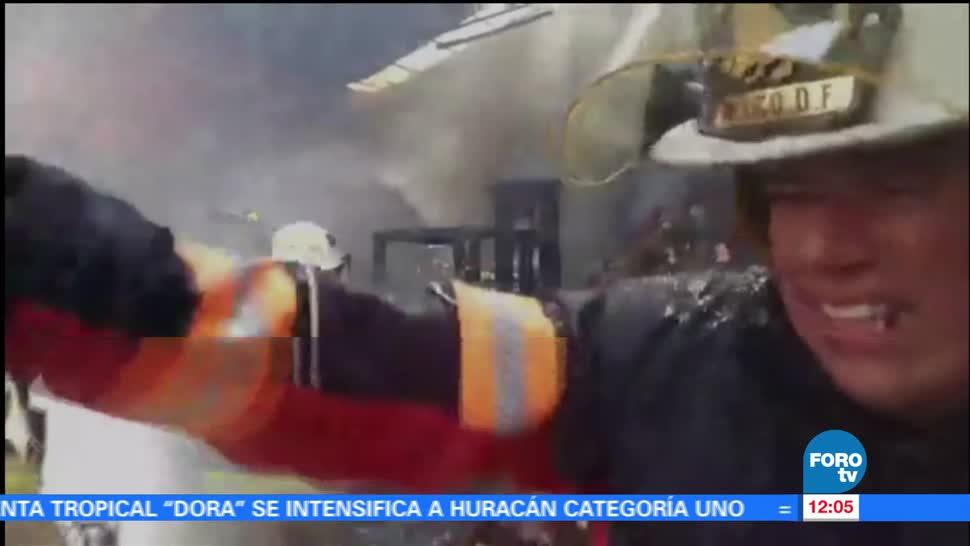 Bomberos, incendio, bodega de vinos, delegación Iztacalco