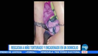 Ciudad de México, niño de cinco años, signos de tortura, encadenado