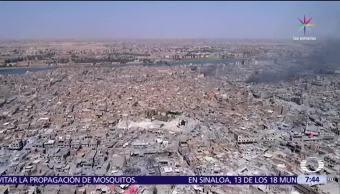 Imágenes, dron, destrucción, Mosul