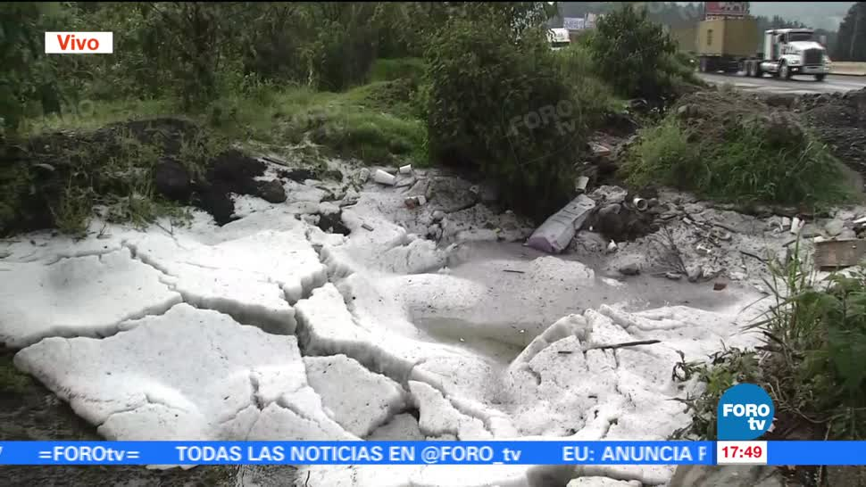 intensa lluvia, granizo, carretera, autopista, la Marquesa
