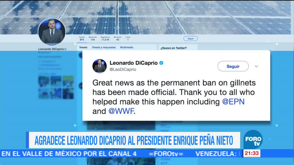 DiCaprio, agradece a EPN, prohibición de redes, Twitter
