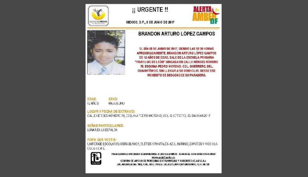 Activan Alerta Amber para localizar a Brandon Arturo López Campos