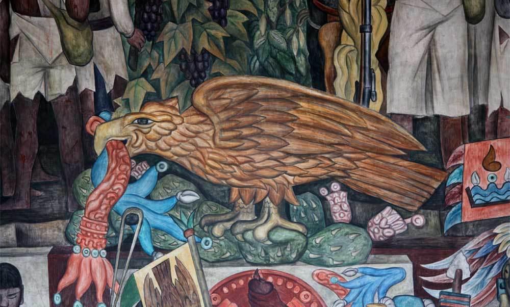 Mural, Diego Rivera, Palacio Nacional, Águila sobre nopal, escudo