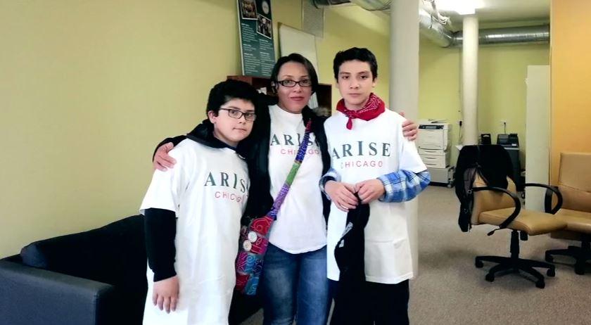 Ana Laura López con sus dos hijos menores en Estados Unidos