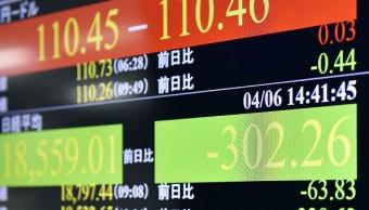 Una pantalla muestra resultados de la Bolsa de Tokio