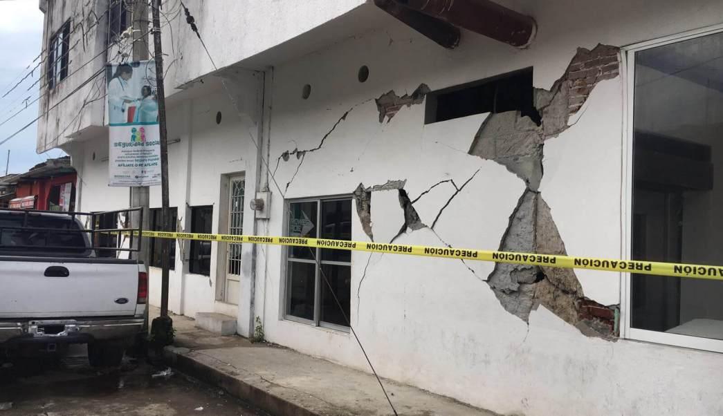Casa afectada en Huixtla tras sismo en Chiapas