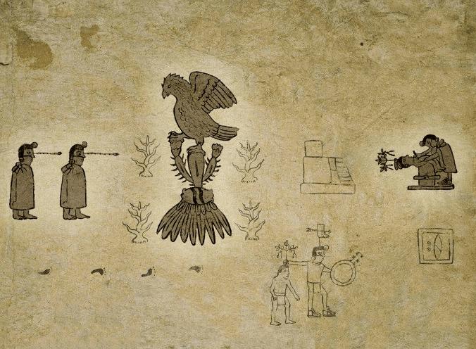 Códice Boturini, Aztecas, mexicas, peregrinación, Águila sobre nopal