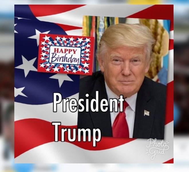 presidente de EU, Donald Trump, cumpleaños, globos, Twitter